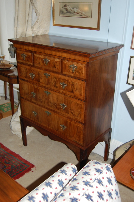 Repaired and refurbished walnut chest of drawers