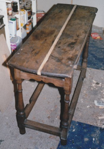 Oak Drop Leaf Table being restored
