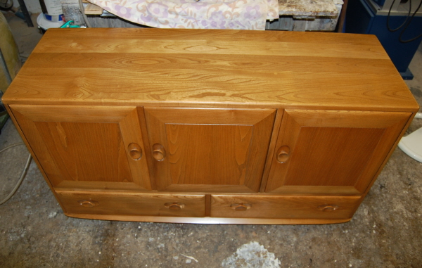 Top view of restored Ercol sideboard