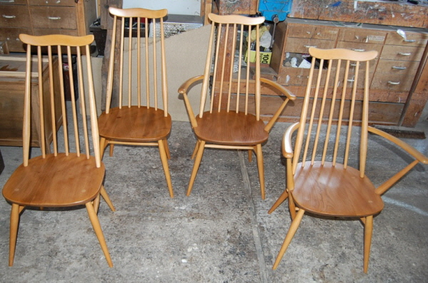 Four Ercol chairs repaired and restored