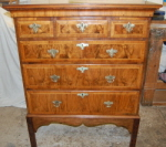 Repaired and restored walnut chest