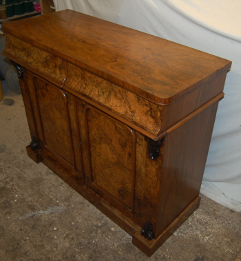 Walnut chiffonier - top and side